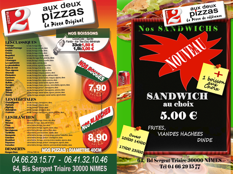 flyer recto verso pizzeria nimes